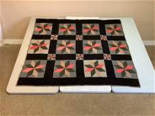 """Eight point star quilt. 74"""" x 62"""". Cotton backing with"""