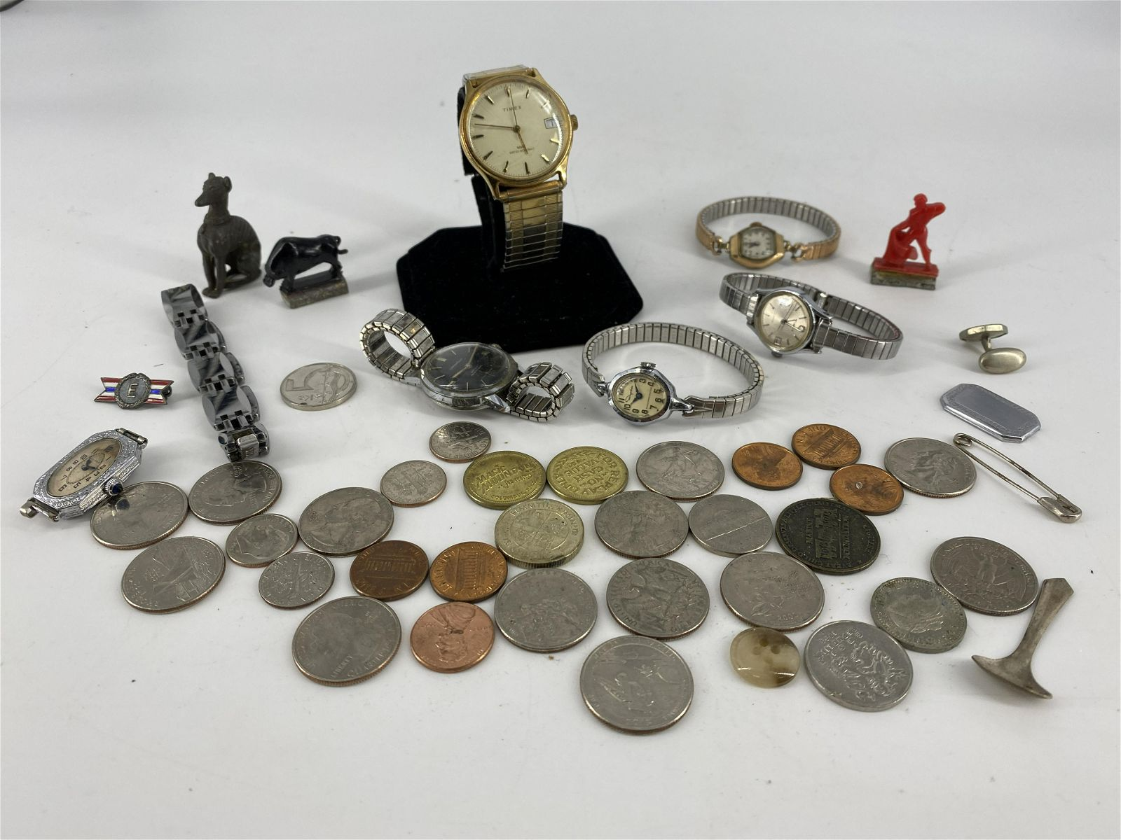 Lot of Wrist Watches, Coins + Miscellaneous Accessories