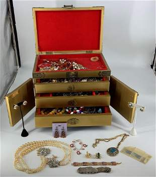 Asian Jewelry Box with Contents