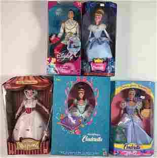 "(5) NRFB Disney story dolls including ""Princess Stories"