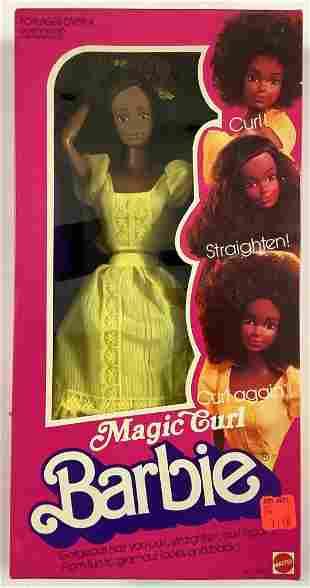 """NRFB vintage 1981 """"Magic Curl"""" African American Barbie."""
