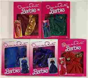 (9) NRFB Barbie fashions including (5) Oscar de la