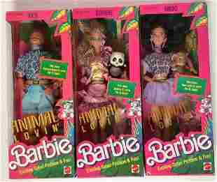 """(3) NRFB vintage 1988 """"Animal Lovin' """" Barbie and"""