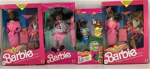 (4) NRFB African American Barbie and friends including