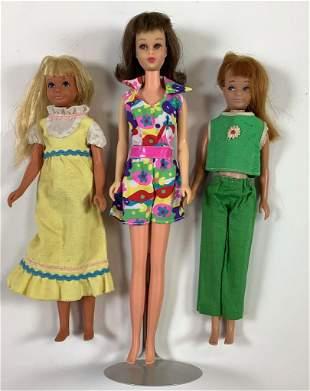 (3) vintage dolls including brunette straight leg