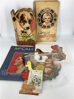 Lot of vintage items including Valentines, Easter Card