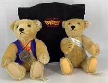 """(2) Steiff gold mohair teddy bears. Includes 13"""""""