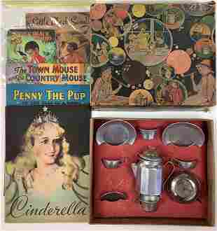 """Lot of vintage items including """"Like-Mother's"""" tin dish"""
