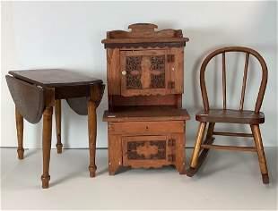 (3) pieces child's antique oak furniture. Includes drop