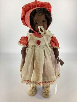 "13 1/2"" Artist made black porcelain girl. Marked ""1976"
