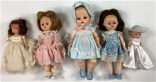 "Lot (5) small play dolls. Includes two 7 1/2"" vinyl"