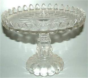 "PATTERN GLASS CAKE SALVER 8""H X 10""DIAM"