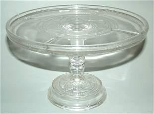 "PATTERN GLASS CAKE SALVER 6""H X 9 1/2""DIAM"
