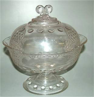 """VICTORIAN PATTERN GLASS OVAL COVERED COMPOTE 10"""""""