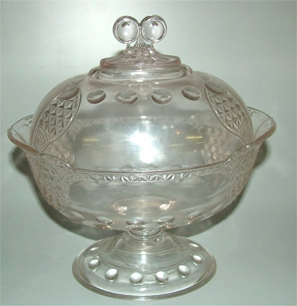 5016A: VICTORIAN PATTERN GLASS OVAL COVERED COMPOTE 10""