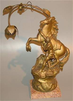 CAST METAL MAN & HORSE LIGHT ON MARBLE BASE, REP