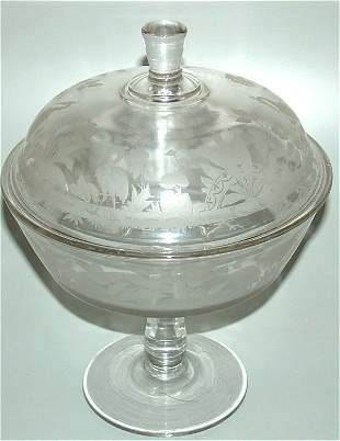 VICTORIAN GLASS COMPOTE W/ETCHED WATER BIRD MOTIF