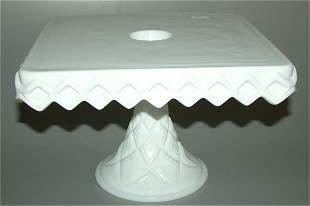 MILK GLASS SQUARE CAKE SALVER W/WELL