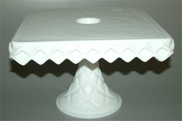 5019: MILK GLASS SQUARE CAKE SALVER W/WELL