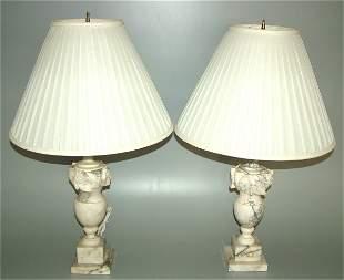 PR ITALIAN WHITE MARBLE TABLE LAMPS W/ACANTHUS LE
