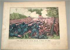 5585 CURRIER  IVES HAND COLORED SM FOLIO THE BATTLE F