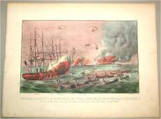 5601 CURRIER  IVES HAND COLORED SM FOLIO BOMBARDMENT
