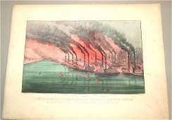 5603 CURRIER  IVES HAND COLORED SM FOLIO BOMBARDMENT
