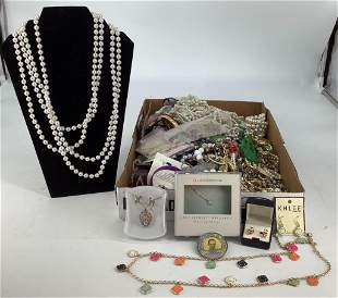 Box Lot Assorted Costume + Fashion Jewelry and