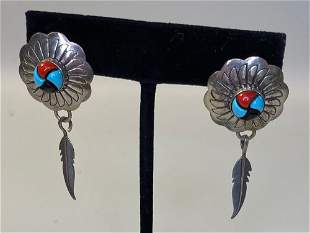 PAIR STERLING SILVER FASHION EARRINGS ON POSTS