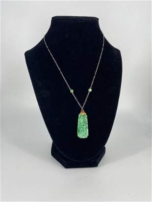 Vintage Gold Jade Necklace