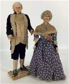 Pair early artist made portrait dolls of George and