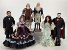 Lot (6) dollhouse portrait dolls by artist Paulette