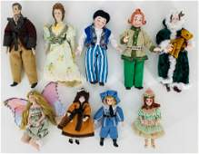 Lot (9) artist made dollhouse size dolls. Includes Max