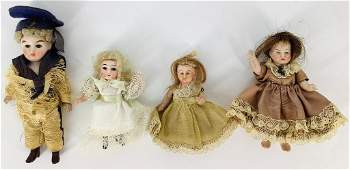 (4) small German all bisque dolls with wigs and