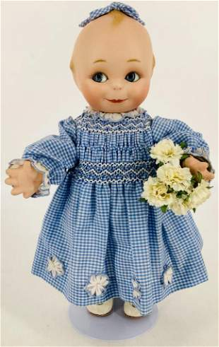 """11½"""" artist made all porcelain Kewpie with blue"""