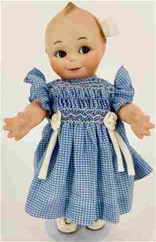 """11½"""" artist made all porcelain Kewpie with brown"""