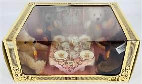 """NRFB Steiff Teddy Bear Tea Party Set with (4) 6"""""""