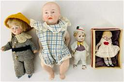 """Lot (4) small all bisque dolls. Includes 2 3/4"""" girl"""