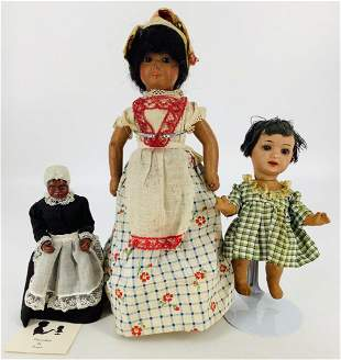 (3) black dolls - (2) bisque socket head dolls with