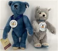 (2) Steiff Club jointed blue mohair teddy bears