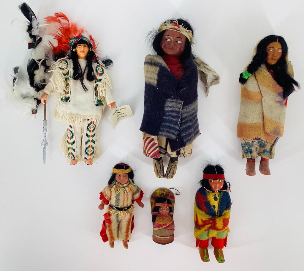 (6) Indian dolls. Includes four Skookums (2 with labels
