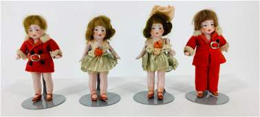 """Two pairs of 3½"""" German all bisque dolls with mohair"""