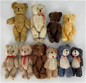 Lot of small vintage teddy bears including made in