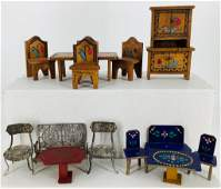Lot miscellaneous dollhouse furniture. Includes six
