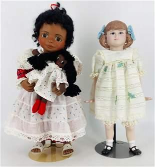 (2) artist made porcelain shoulder head dolls including