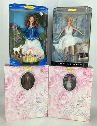 (3) Barbies&(1) Ken-Marilyn Monroe in white