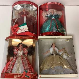 (4) Happy Holidays Barbies including 1st doll in Happy