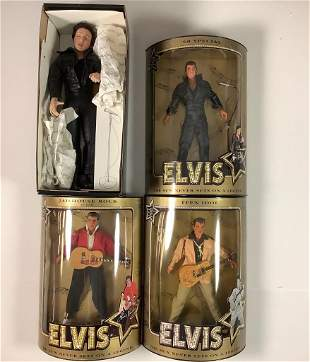 "(4) boxed Elvis dolls including (3) Hasbro ""Teen Idol"","