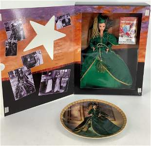 Barbie as Scarlett O'Hara in her green gown along with