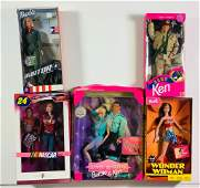Lot of 6 Barbies including Nascar , Ken Army and Barbie